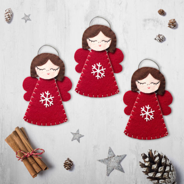 red christmas angels