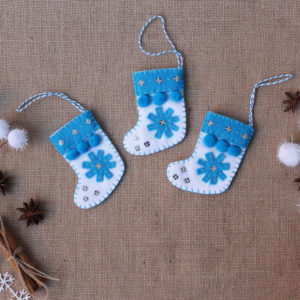 Blue Christmas stocking decoration